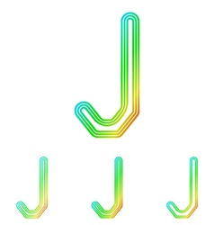 Rainbow line j logo design set vector image