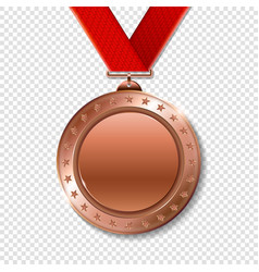 realistic 3d bronz trophy champion award medal vector image
