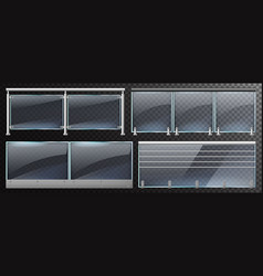 realistic glass fences home stairway or balcony vector image