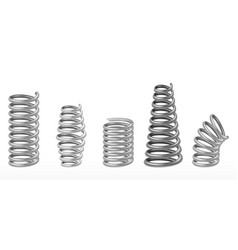 Realistic metal springs chrome spiral bounce wire vector