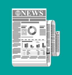 Rolled daily newspaper in black and white vector