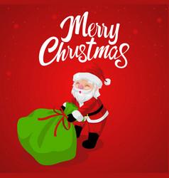 Santa claus dragging his gift sack vector