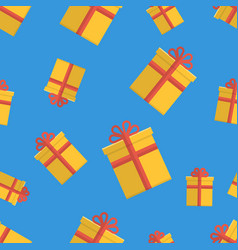 Seamless pattern with gift boxes on blue vector