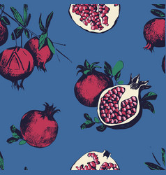 Seamless pattern with pomegranates fruits on blue vector
