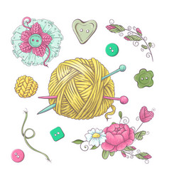 set for handmade knitted flowers and elements and vector image