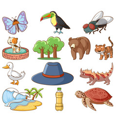 Set many animals and nature things on white vector