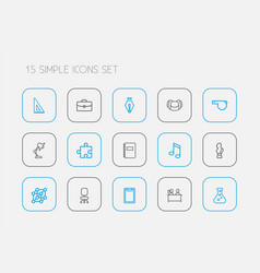 set of 15 editable teach outline icons includes vector image