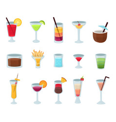 Set of popular alcohol cocktails isolated vector