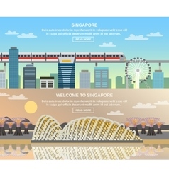 Singapore Cultural Travel 2 Flat Banners vector image