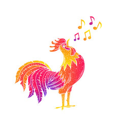 Singing rooster cock vector