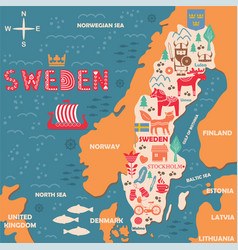 Sweden symbols map with tourist attractions vector