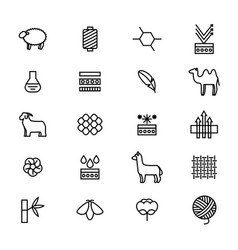 Symbols of fabric feature thin line icon set vector