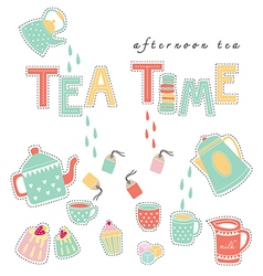 Tea time pastel colors vector