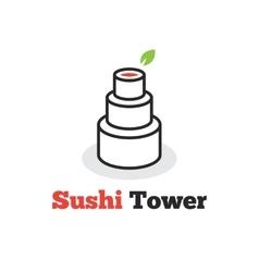 trendy minimalistic sushi tower logo vector image