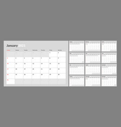 Wall calendar for 2021 year in clean minimal style vector