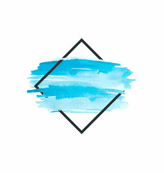 watercolor insertion blue strokes in grey square vector image