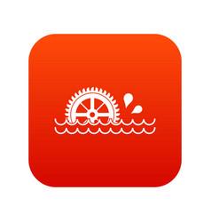 Waterwheel icon digital red vector