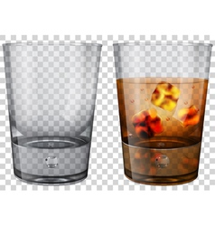 Whiskey glass with ice cubes vector image