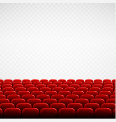 Wide empty theater auditorium with red seats rows vector
