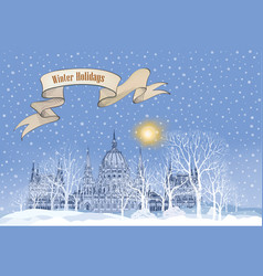 Winter holiday snow landscape background vector