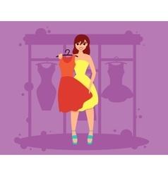 Woman chooses dress vector image