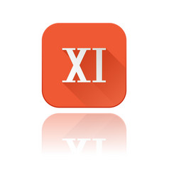 xi roman numeral orange square icon with vector image