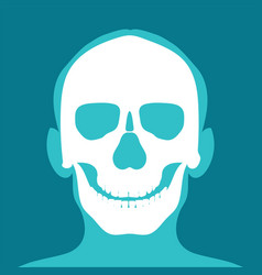 Xray head and neck isolated on blue backdround vector