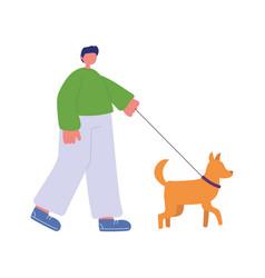 young man cartoon character with dog walking vector image