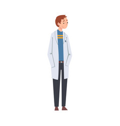 Young man scientist character in white lab coat vector