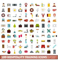 100 hospitality training icons set flat style vector image