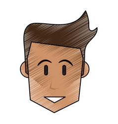color pencil front face man with hairstyle vector image vector image