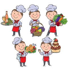 Little chef with food and meals vector image vector image