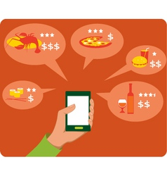 Mobile search for restaurants vector image