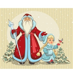 Russian Santa Claus Grandfather Frost and Snow vector image vector image