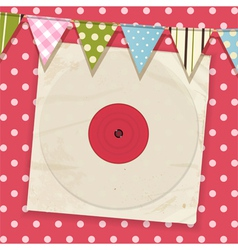 vintage record and sleeve with bunting on a pink vector image vector image