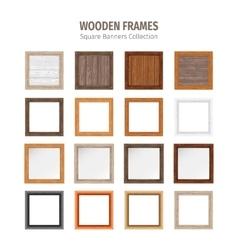 Wooden Square Frames Set vector image vector image