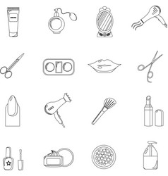 Beauty salon set of black line icons new vector