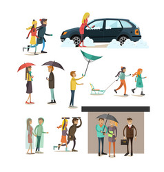 set of weather concept flat style design vector image vector image