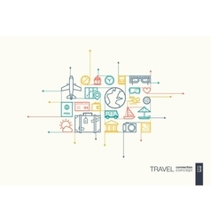 Travel integrated thin line symbols vector image