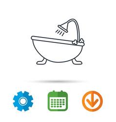Bathroom icon bath with shower sign vector