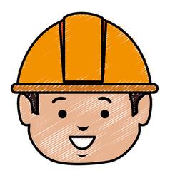 Builder head avatar character icon vector