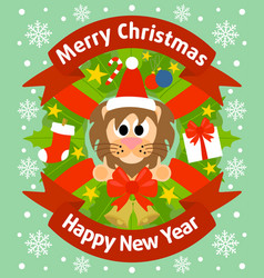christmas and new year background card with lion vector image vector image
