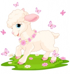 Easter lamb and butterflies vector