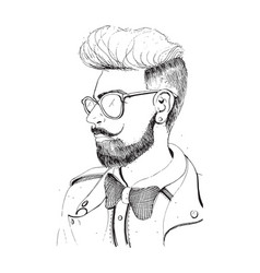 hipster head with beard sunglasses silhouette vector image vector image