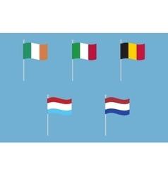 National flags of Italy Ireland Belgium vector image