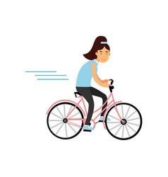 teen girl cycling on bicycle girl doing sport vector image