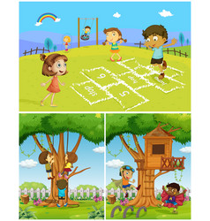 three scenes with kids playing in the park vector image