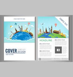 travel flyer design with famous world landmarks vector image