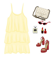 a set of summer outfit collection with accessories vector image