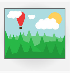 cartoon style photo frame with day nature vector image